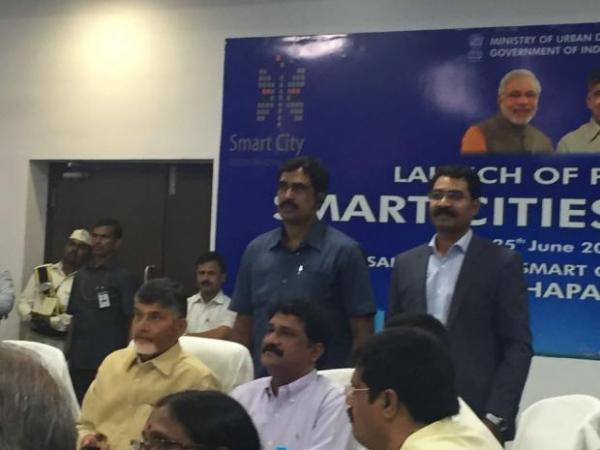 Mr. Chandrababu Naidu (CM Andhra Pradesh), Mr. Ganta Srinivasa Rao (HRD Minister Andhra Pradesh) and Mr. Murali Krishna Gannamani (MD & CEO, FluentGrid Limited)